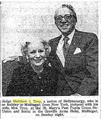 Matthew J. Troy and wife - Mullingar, Co. Westmeath 1971